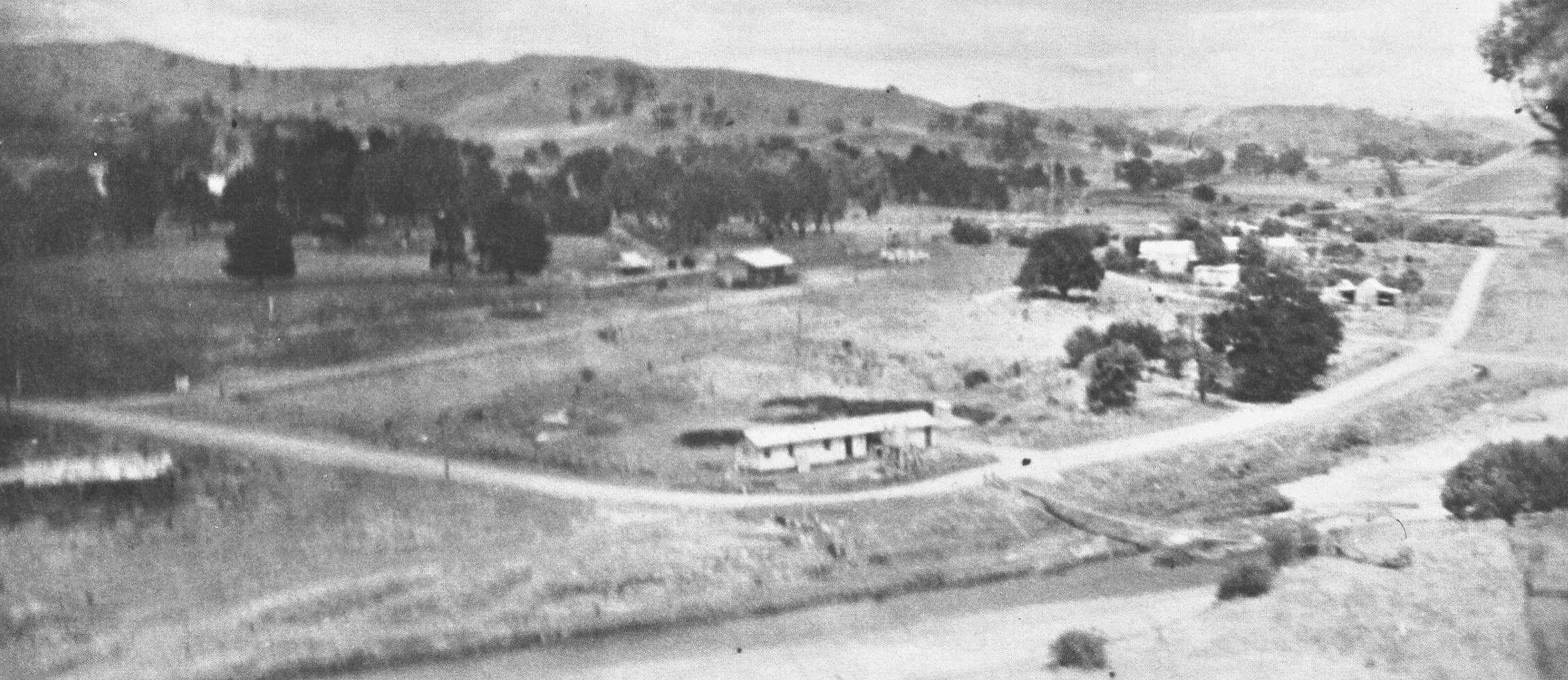 Construction campin foreground railway station goods shed butter fact. swing bridge some houses already moved 1955